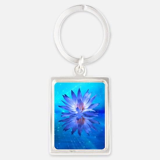Blue Water Lily Portrait Keychain