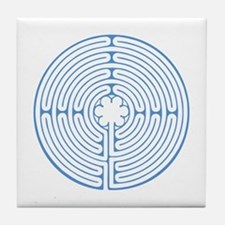 Blue Chartres Labyrinth Tile Coaster