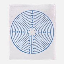 Blue Chartres Labyrinth Throw Blanket