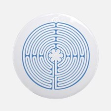 Blue Chartres Labyrinth Round Ornament