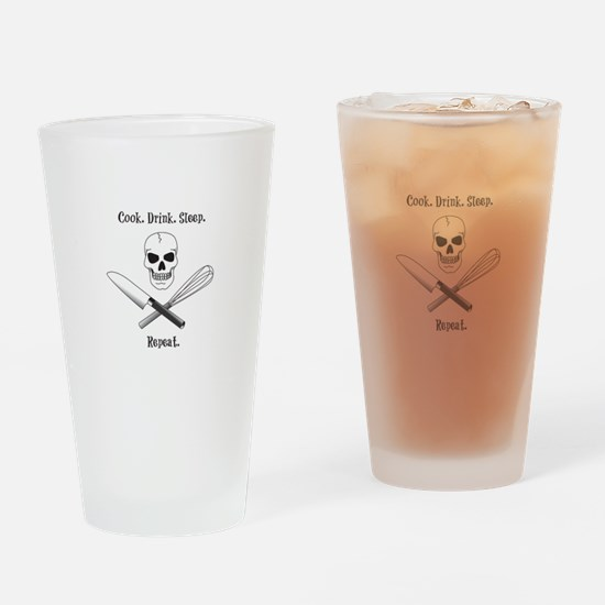 Skull Cook Saying Drinking Glass