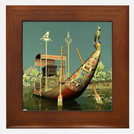Ancient Egyptian Barge Framed Tile