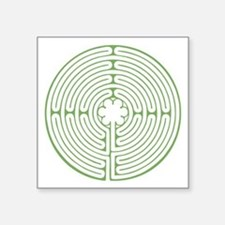 "Green Chartres Labyrinth Square Sticker 3"" x 3"""