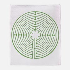 Green Chartres Labyrinth Throw Blanket