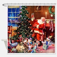 Santa Claus Decorates the CHirstmas Shower Curtain