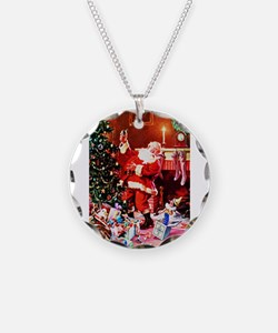 Santa Claus Decorates the Ch Necklace Circle Charm