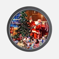 Santa Claus Decorates the CHirstmas Tre Wall Clock