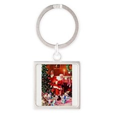 Santa Claus Decorates the Chirstma Square Keychain