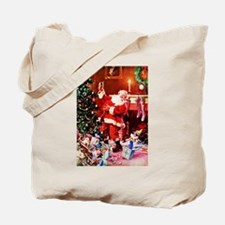 Santa Claus Decorates the Chirstmas Tree Tote Bag