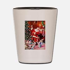 Santa Claus Decorates the Chirstmas Tre Shot Glass