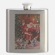 Santa Claus Decorates the Chirstmas Tree on Flask
