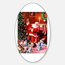 Santa Claus Decorates the Chirstmas Sticker (Oval)