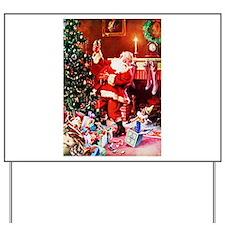 Santa Claus Decorates the Chirstmas Tree Yard Sign