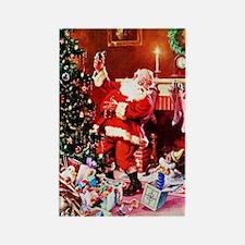 Santa Claus Decorates t Rectangle Magnet (10 pack)