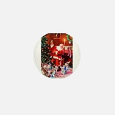Santa Claus Decorates the Chirstmas Tr Mini Button