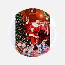 Santa Claus Decorates the Chirstmas Tree on Button