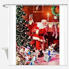 Santa Claus Decorates the Chirstmas Shower Curtain