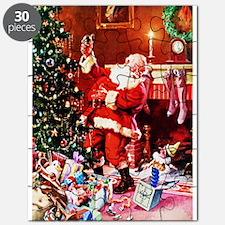 Santa Claus Decorates the Chirstmas Tree on Puzzle