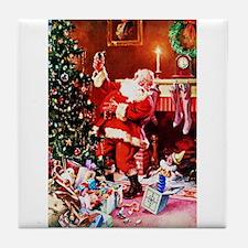 Santa Claus Decorates the Chirstmas T Tile Coaster