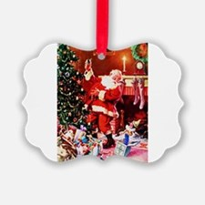 Santa Claus Decorates the Chirstm Ornament