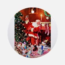 Santa Claus Decorates the Chirstmas Round Ornament