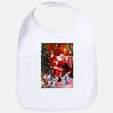 Santa Claus Decorates the Chirstmas Tree on th Bib