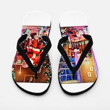 Santa Claus Decorates the CHirstmas Tre Flip Flops