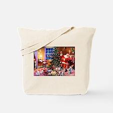 Santa Claus Decorates the CHirstmas Tree Tote Bag