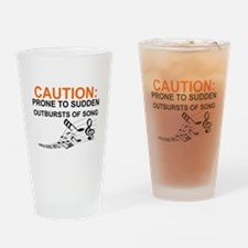 Cute Caution Drinking Glass