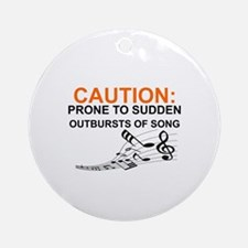 Cute Caution Round Ornament