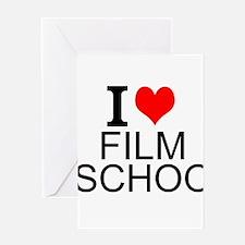 I Love Film School Greeting Cards