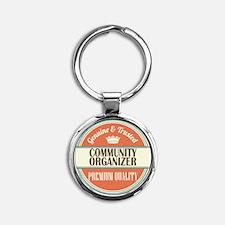 community organizer vintage logo Round Keychain