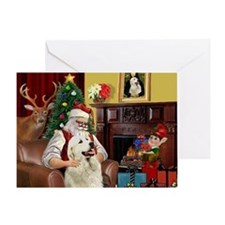 Santa's Great Pyrenees Greeting Card