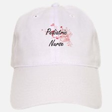 Pediatric Nurse Artistic Job Design with Heart Baseball Baseball Cap