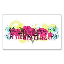 Pink Elephants Rectangle Decal