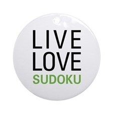 Live Love Sudoku Ornament (Round)