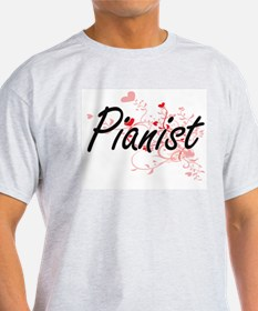 Pianist Artistic Job Design with Hearts T-Shirt