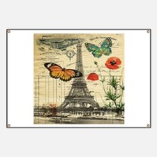vintage butterfly paris eiffel tower Banner