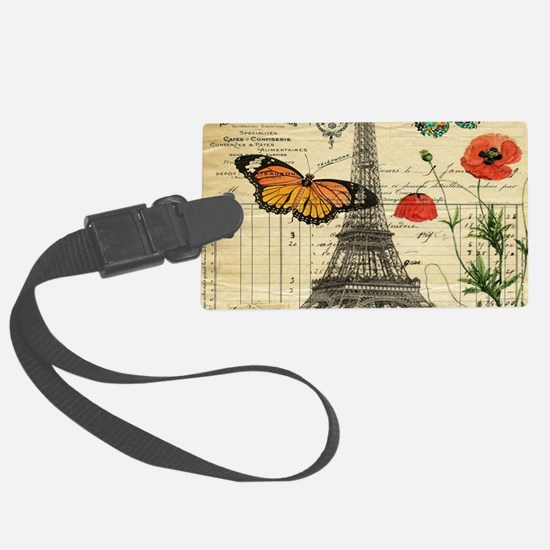 vintage butterfly paris eiffel t Large Luggage Tag