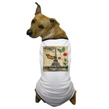 vintage butterfly paris eiffel tower Dog T-Shirt