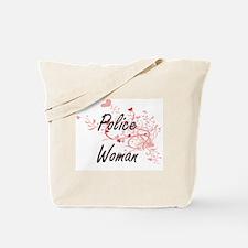 Police Woman Artistic Job Design with Hea Tote Bag
