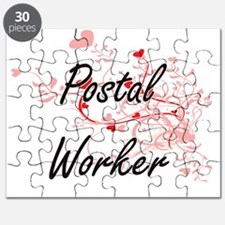 Postal Worker Artistic Job Design with Hear Puzzle