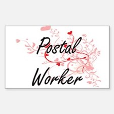 Postal Worker Artistic Job Design with Hea Decal