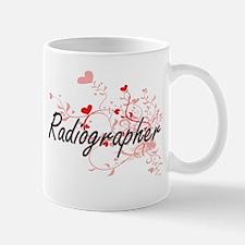 Radiographer Artistic Job Design with Hearts Mugs
