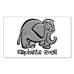 Elephants Rock! Rectangle Sticker
