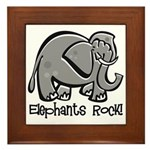 Elephants Rock! Framed Tile