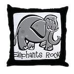 Elephants Rock! Throw Pillow