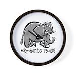 Elephants Rock! Wall Clock