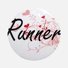 Runner Artistic Job Design with Hea Round Ornament