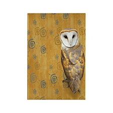 Barn Owl Retro Twirls Rectangle Magnet